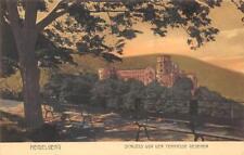 Rarität alte Litho AK Heidelberg Schloss von der Terrasse gesehen