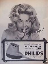 PUBLICITÉ 1958 RASOIR PHILIPS 120S PHILIPS C'EST PLUS SÛR - ADVERTISING