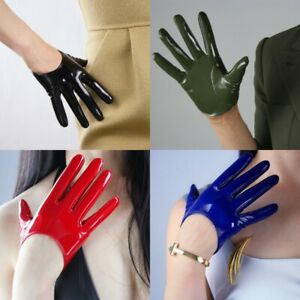 Women Patent Leather Short Gloves Opera Evening Lambskin Punk Clubwear Mittens