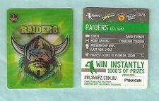#D535.  NRL 2011 RUGBY LEAGUE TAZO #36  CANBERRA RAIDERS  EMBLEM / MASCOT
