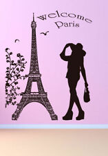 Wall Decal Sticker bedroom welcome Paris tower quote girl flowers cute  bo2741