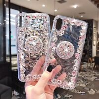 For iPhone XS MAX XR X 6 7 8 Bling 3D Rhinestone Diamond Case Cover with Holder
