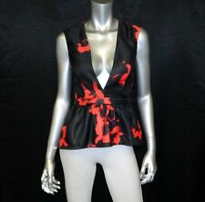 WINDSOR NEW Black/Red Print Plunging Neck Open/Zip Back Peplum Blouse sz M