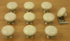 10 x Cream Crackle Glaze & Antique Brass Door / Drawer Knobs | Kitchen Cupboard