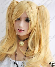 HOT New Long milk blonde cosplay party wig + 2 Ponytail +GIFT K9