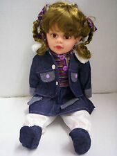 "Doll by Cathay Collections,18"", New, Giggles, Brown Eyes & Hair,Denim Outfit,New"