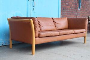 Traumhaftes Leder STOUBY 1960s Danish 3-Seat Vintage Leather Design Sofa