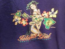 NORTH SHORE HAWAII ISLAND GIRL (PIN-UP) T-SHIRT (XL) BLUE-ALL 8 ISLANDS-RARE