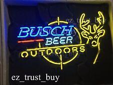 """New Busch Beer Outdoors Deer Beer Neon Light Sign 20""""x16"""""""