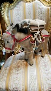 SUPER RARE Mohair Steiff Pack Mule Donkey Canvas, Wood GEAR w HARNESS & BRIDLE!