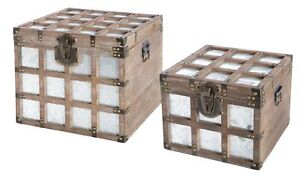 New Vintiquewise Vintorary Wooden Square Galvanized Metal Lined Storage Trunk