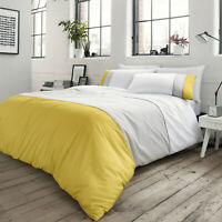 Ochre Grey Duvet Covers Modern Stripe Panel Lawson 100% Cotton Quilt Cover Set