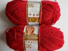 Lion Brand Vanna's Glamour yarn, Red Stone, lot of 2 (202 yds each)
