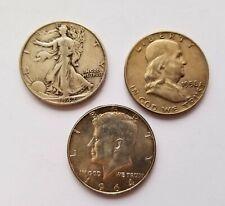 Walking Liberty, Franklin and Kennedy U.S. 90% ~ Silver 3 Coin Half Dollar Lot