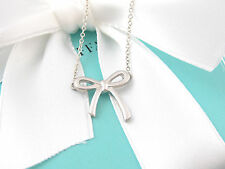 New Tiffany & Co Silver Bow Ribbon Necklace Box Included
