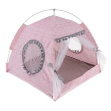 Pet Cat Small Dog Teepee House Spring Breathable Tent Cave Bed Kennel M