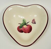 """Pfaltzgraff Delicious Heart Shaped Red Bowl Apple with Butterfly Red Trim 5 1/2"""""""