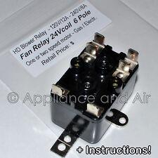 Lennox Furnace Fan Blower Relay 13W13 repl. 24V 6-pole + instructions