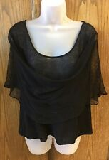 MOYH ANTHROPOLOGIE Size M Black Draped Front & Back Knit 100% Linen Top