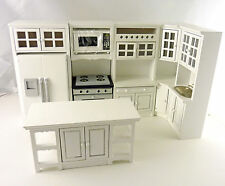 Dollhouse Miniature All White Kitchen Island with Display T5428