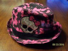 MONSTER HIGH GOTH Gothic GIRLS Black/Pink Glitter FEDORA HAT Cap Size S/M