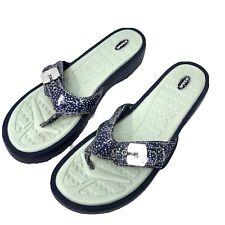 Dr Scholl's  Womens Size 10 M Navy Dot Buckle Flip flops Thong Comfort Sandals