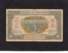 French Indochina 5 Piastres 1942-45  P-61 VG+