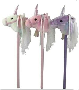 ~❤️~UNICORN STICK Ride On White Neighing Clip Clop with Sound Soft Toy~❤️~