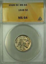 1928 Buffalo Nickel Coin 5c ANACS MS-64 Beautifully Toned Better Coin