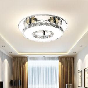 12/36W LED Round Crystal Ceiling Light Modern Minimalist Living Room Aisle Lamp