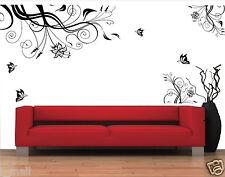 Butterflies & Corner Black Florals Removable Wall Decal / Sticker