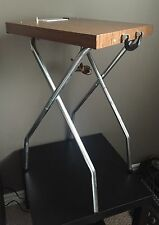 Vintage Deluxe Projector Stand w/ Light and Power Outlet, Wood Grain Laminate