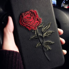 Women Elegant Embroidery Rose Flower Phone Case Cover For iPhone 7Plus Black