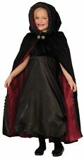 Gothic Vampiress Costume Hooded Cape Black N' Red Child Girls Boys Halloween