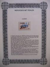 Irrtümer auf Briefmarken / Gambia 1986 Mi 626 : Mercedes 500 - Ameripex USA 1986