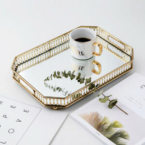 Golden Metal Octagon Shape Serving Table Tray W/ Mirror Glass Storage Container