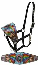 Showman FULL SIZE Leather Bronc Halter with Painted Native American Chief