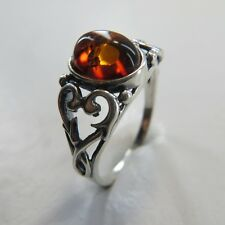 Size 9 (EU Size 60) Cognac / Brown BALTIC AMBER Ring, 925 STERLING SILVER #2419