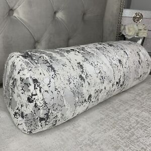 """16""""x6"""" Cushion Bolster Mellow Textured Fabric Marble Effect Grey Silver"""