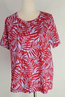 Sportscraft blue & red palm leaf print cotton short sleeve top - NWOT - XL