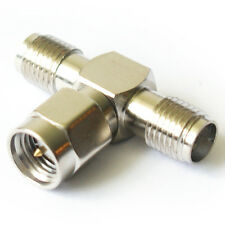 SMA Splitter T/Y Adapter - Antenna Cable/Router - Male Plug to 2x Female Socket