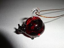Hanging Ladybug Red Figurine of Blown Glass Crystal