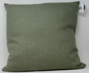 100% Green Linen Throw Pillow