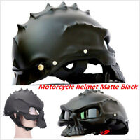 Dual Use Skull Motorcycle Helmet Novelty Casque Motorbike Half Face Matte Black