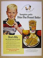 1950 Peter Pan Peanut Butter boy eating sandwich photo vintage print Ad