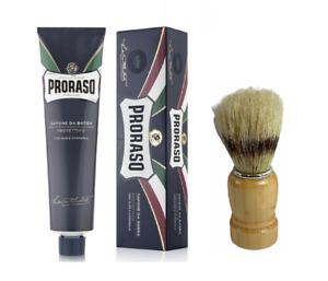 Proraso Shaving Cream, Protective and Moisturizing,5.2 oz (150 ml) BLUE W Brush