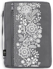 Canvas Bible Cover, Gray with White Lace, X-Large