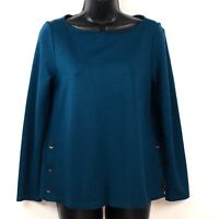 J Jill Ponte Knit top shirt S P Petite Peacock teal Buttons Boat neck ls stretch