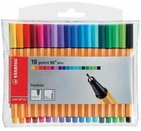 Stabilo Point 88 Mini Fineliner Pigment Liner Assorted Colours - Wallet Of 18