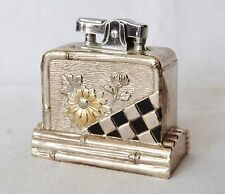 Vintage Art Deco metal table desk lighter, French design flower metal decoration